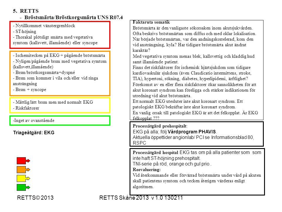 RETTS Skåne 2013 v 1.0 130211RETTS© 2013 - Nytillkommet vänstergrenblock - ST-höjning - Thorakal plötsligt smärta med vegetativa symtom (kallsvett, il