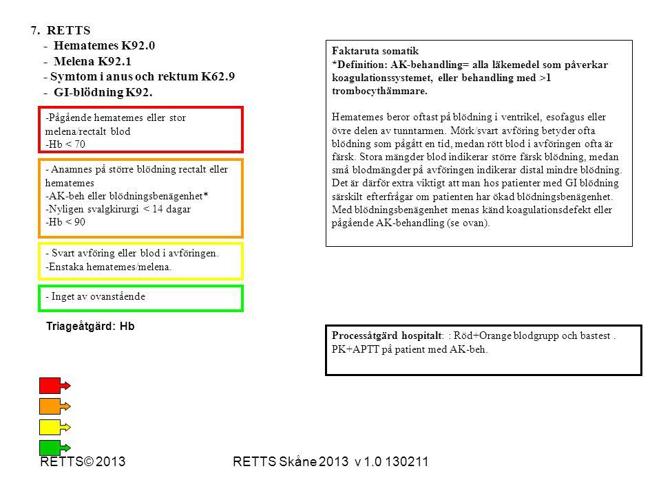 RETTS Skåne 2013 v 1.0 130211RETTS© 2013 -Pågående hematemes eller stor melena/rectalt blod -Hb < 70 - Anamnes på större blödning rectalt eller hemate