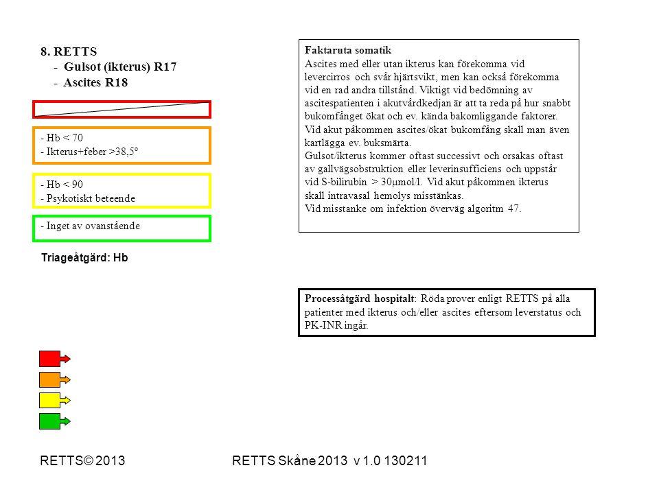 RETTS Skåne 2013 v 1.0 130211RETTS© 2013 - Hb < 70 - Ikterus+feber >38,5º - Hb < 90 - Psykotiskt beteende - Inget av ovanstående Processåtgärd hospita