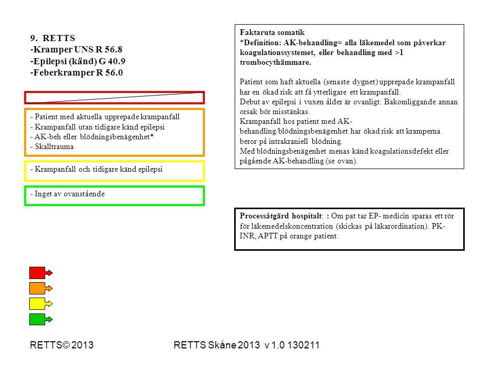 RETTS Skåne 2013 v 1.0 130211RETTS© 2013 - Patient med aktuella upprepade krampanfall - Krampanfall utan tidigare känd epilepsi - AK-beh eller blödnin