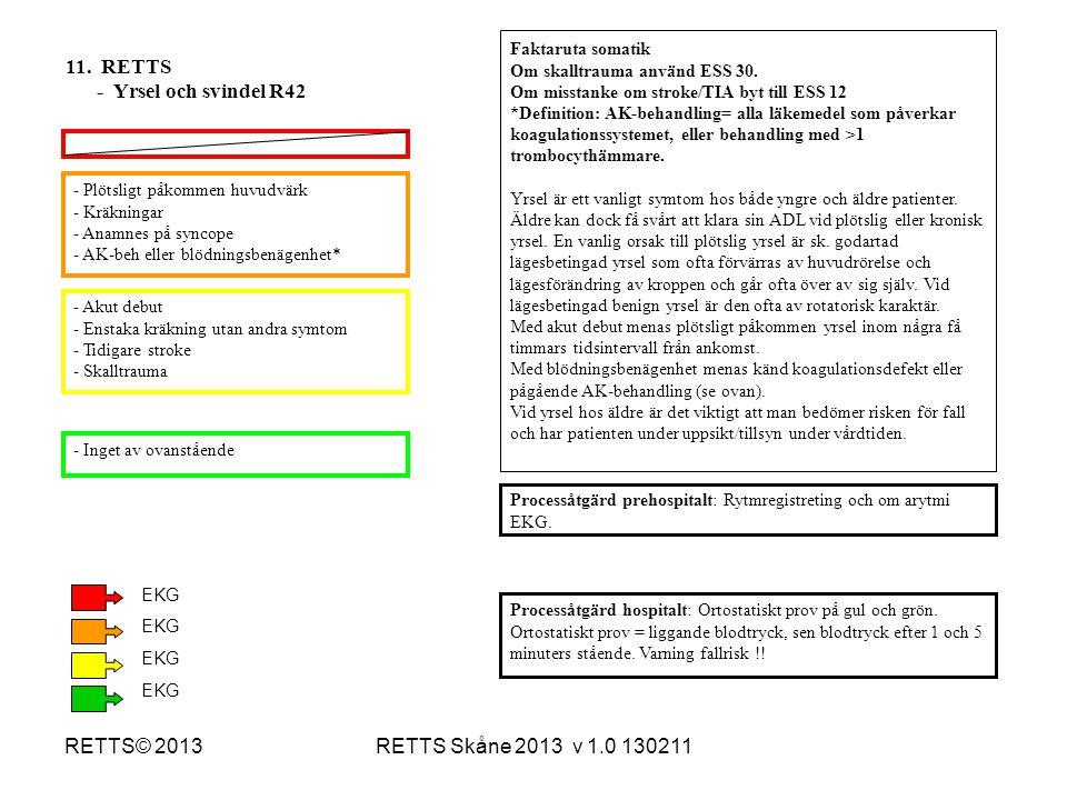 RETTS Skåne 2013 v 1.0 130211RETTS© 2013 - Plötsligt påkommen huvudvärk - Kräkningar - Anamnes på syncope - AK-beh eller blödningsbenägenhet* - Akut d