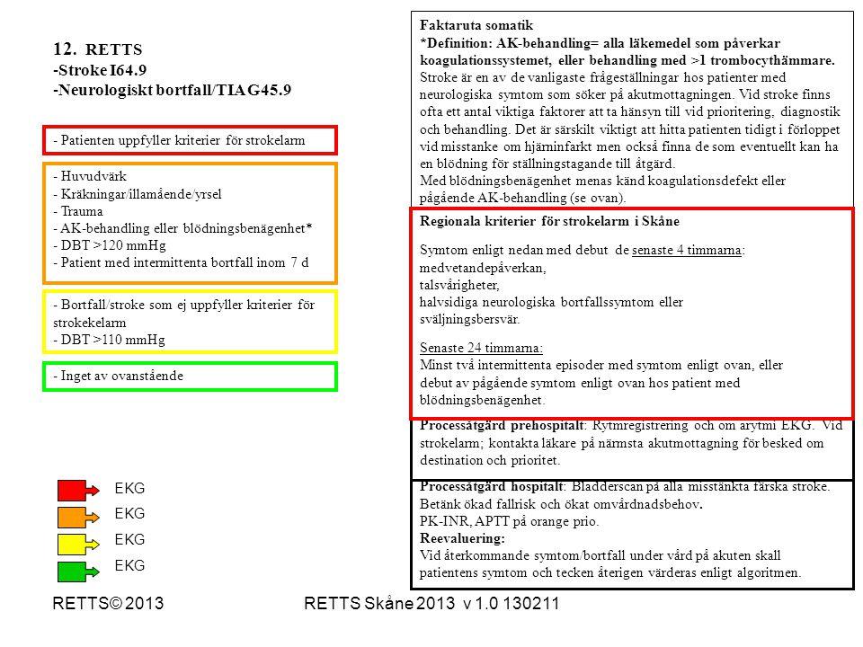 RETTS Skåne 2013 v 1.0 130211RETTS© 2013 - Huvudvärk - Kräkningar/illamående/yrsel - Trauma - AK-behandling eller blödningsbenägenhet* - DBT >120 mmHg