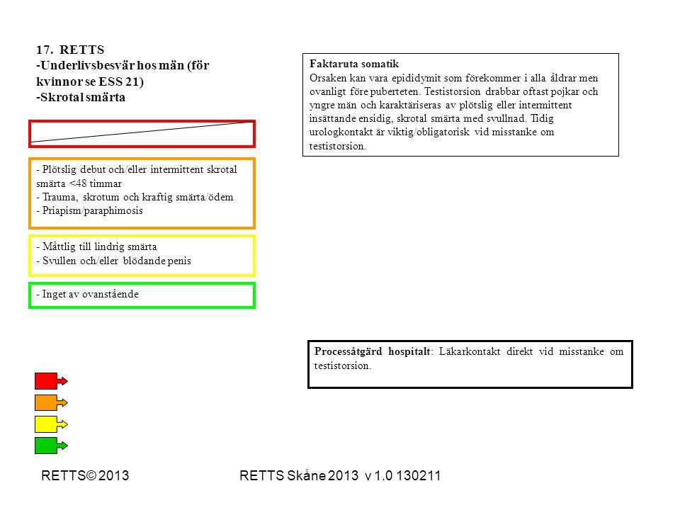 RETTS Skåne 2013 v 1.0 130211RETTS© 2013 - Plötslig debut och/eller intermittent skrotal smärta <48 timmar - Trauma, skrotum och kraftig smärta/ödem -