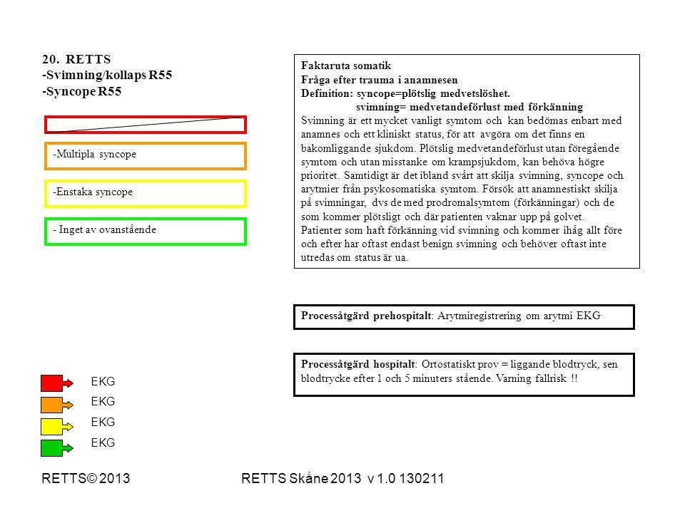 RETTS Skåne 2013 v 1.0 130211RETTS© 2013 -Multipla syncope -Enstaka syncope - Inget av ovanstående Processåtgärd hospitalt: Ortostatiskt prov = liggan