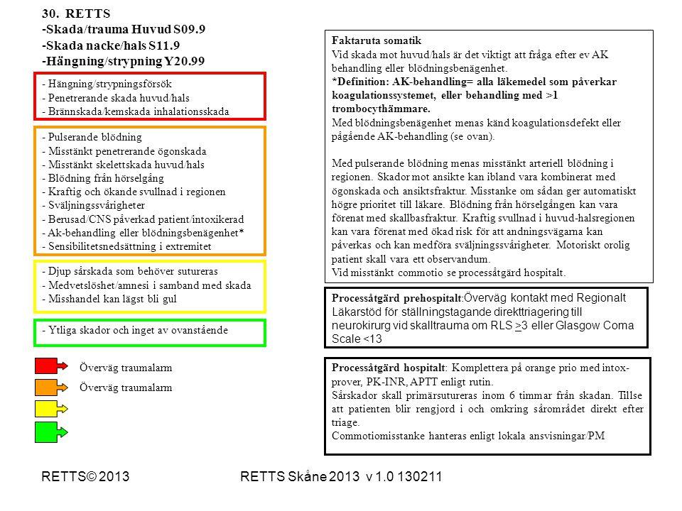 RETTS Skåne 2013 v 1.0 130211RETTS© 2013 - Pulserande blödning - Misstänkt penetrerande ögonskada - Misstänkt skelettskada huvud/hals - Blödning från
