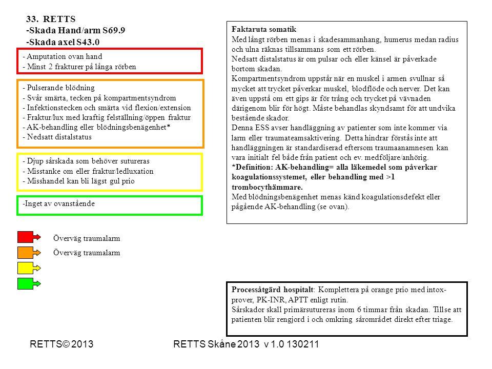 RETTS Skåne 2013 v 1.0 130211RETTS© 2013 - Pulserande blödning - Svår smärta, tecken på kompartmentsyndrom - Infektionstecken och smärta vid flexion/e