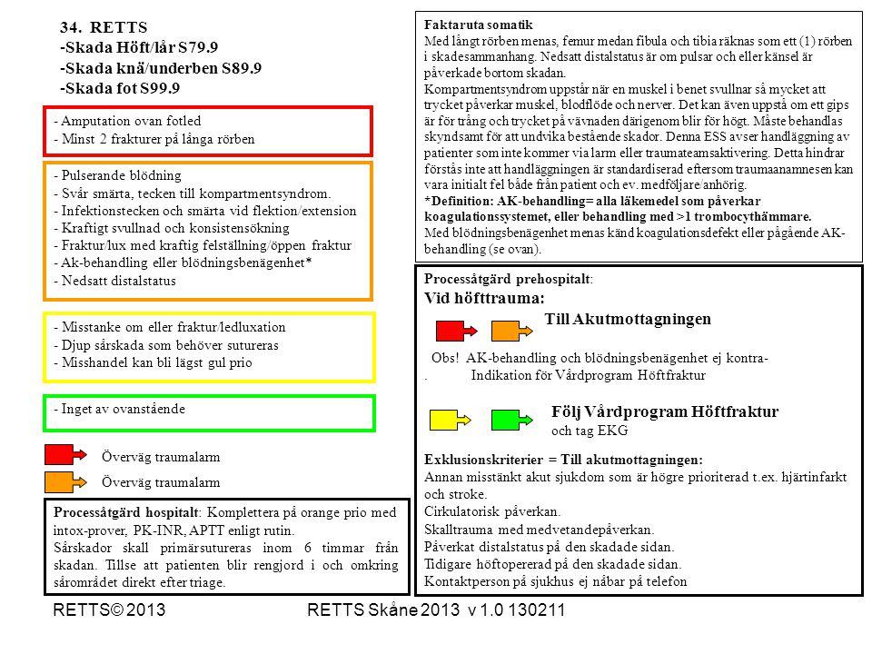 RETTS Skåne 2013 v 1.0 130211RETTS© 2013 - Pulserande blödning - Svår smärta, tecken till kompartmentsyndrom. - Infektionstecken och smärta vid flekti