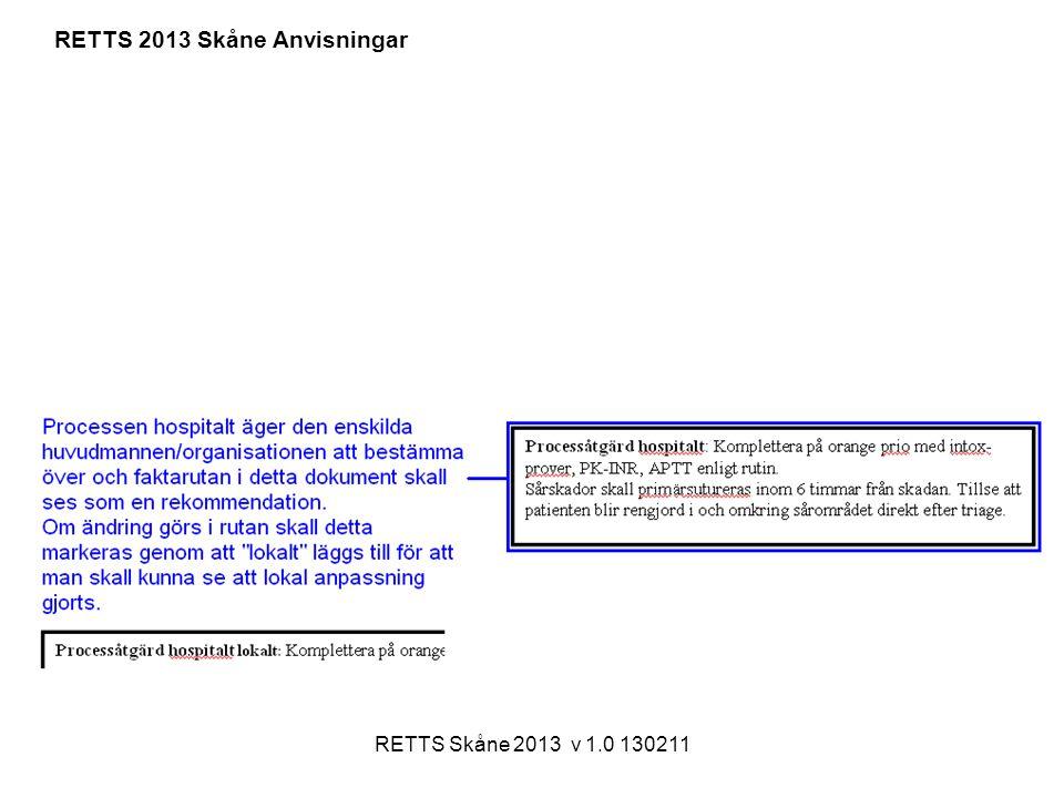 RETTS Skåne 2013 v 1.0 130211 RETTS 2013 Skåne Anvisningar