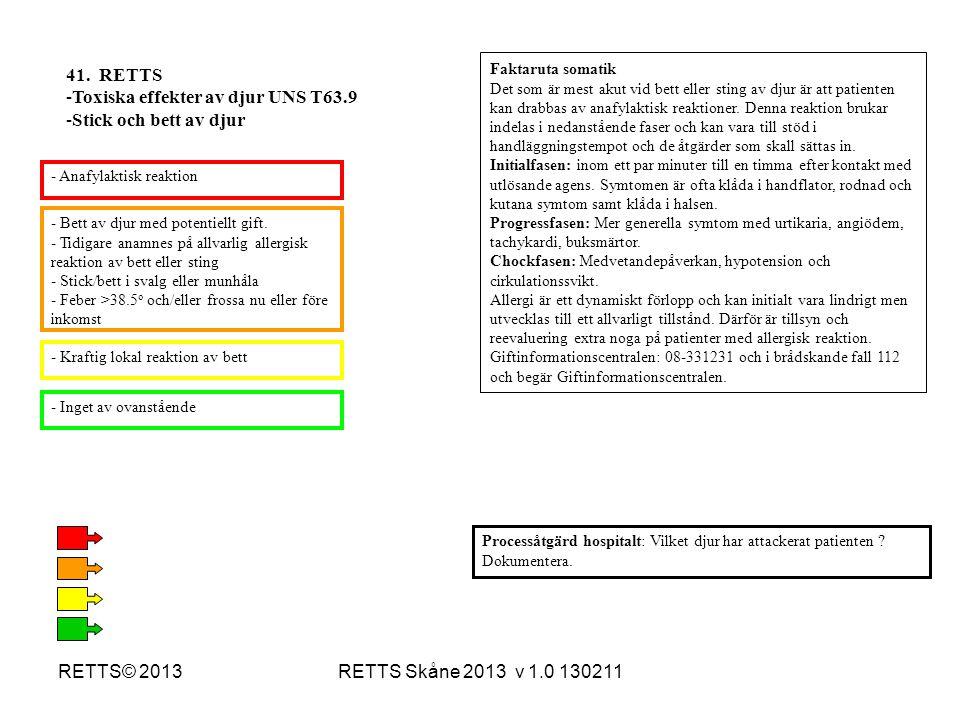 RETTS Skåne 2013 v 1.0 130211RETTS© 2013 - Bett av djur med potentiellt gift. - Tidigare anamnes på allvarlig allergisk reaktion av bett eller sting -