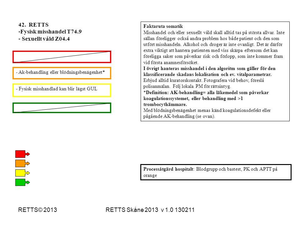 RETTS Skåne 2013 v 1.0 130211RETTS© 2013 - Fysisk misshandlad kan blir lägst GUL - Ak-behandling eller blödningsbenägenhet* Processåtgärd hospitalt: B