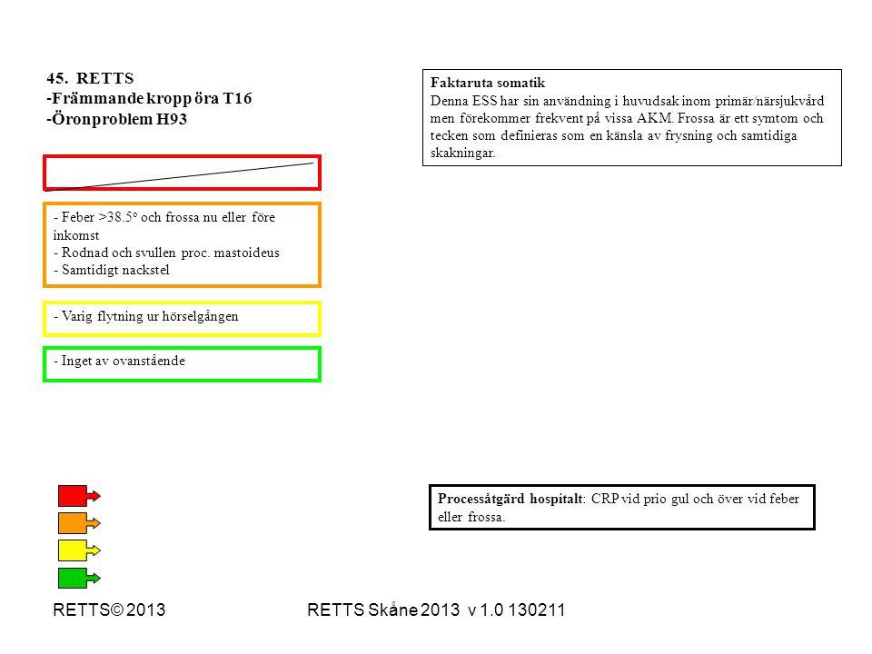 RETTS Skåne 2013 v 1.0 130211RETTS© 2013 - Feber >38.5 o och frossa nu eller före inkomst - Rodnad och svullen proc. mastoideus - Samtidigt nackstel -