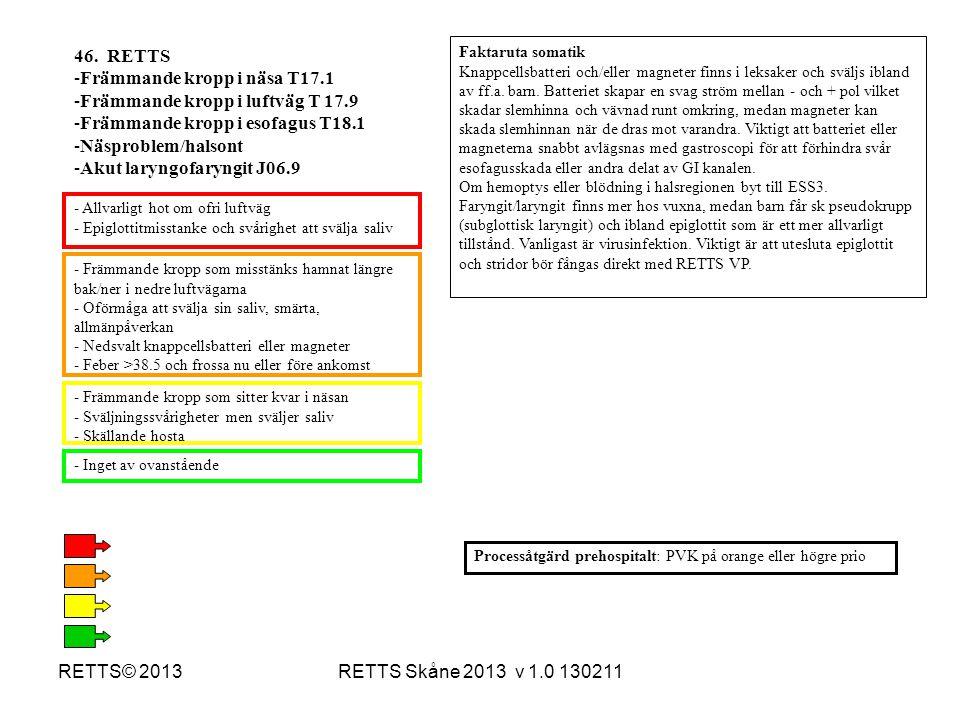 RETTS Skåne 2013 v 1.0 130211RETTS© 2013 - Främmande kropp som misstänks hamnat längre bak/ner i nedre luftvägarna - Oförmåga att svälja sin saliv, sm