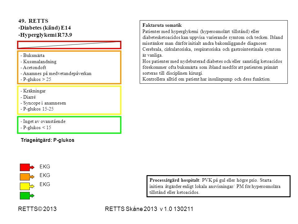 RETTS Skåne 2013 v 1.0 130211RETTS© 2013 - Buksmärta - Kussmalandning - Acetondoft - Anamnes på medvetandepåverkan - P-glukos > 25 - Kräkningar - Diar