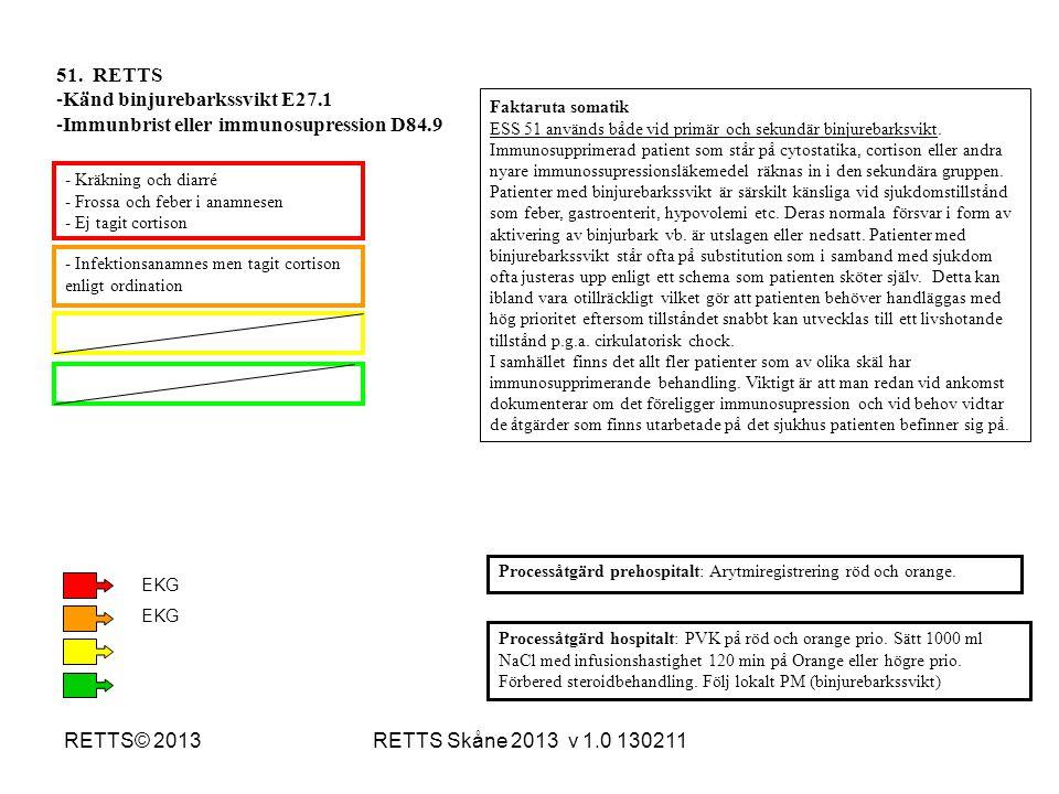 RETTS Skåne 2013 v 1.0 130211RETTS© 2013 - Kräkning och diarré - Frossa och feber i anamnesen - Ej tagit cortison - Infektionsanamnes men tagit cortis
