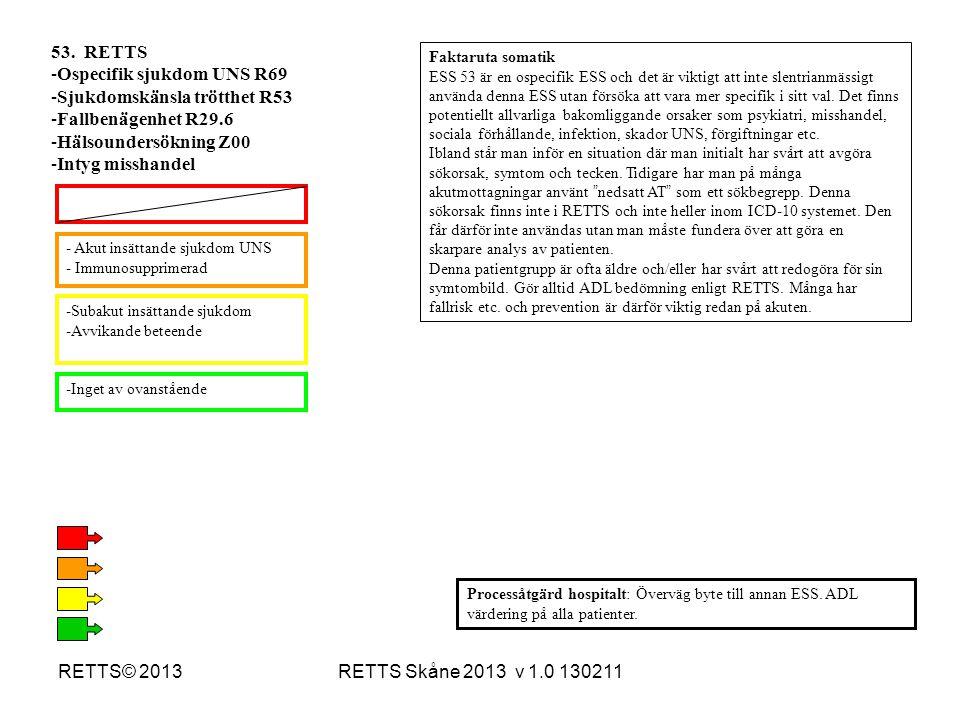 RETTS Skåne 2013 v 1.0 130211RETTS© 2013 -Subakut insättande sjukdom -Avvikande beteende -Inget av ovanstående - Akut insättande sjukdom UNS - Immunos