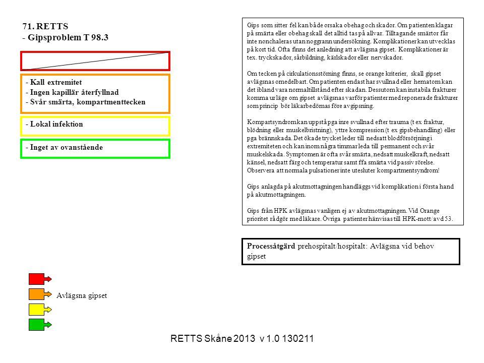 RETTS Skåne 2013 v 1.0 130211 - Lokal infektion - Inget av ovanstående - Kall extremitet - Ingen kapillär återfyllnad - Svår smärta, kompartmenttecken