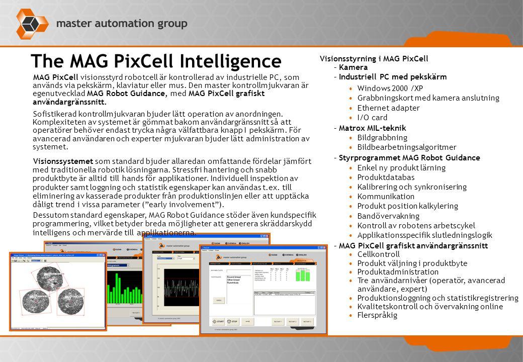 The MAG PixCell Robot cells MAG PixCell är en visionsstyrd robotcell som är användbar till talrik uppgifter som ingår plock och placering bl.a.