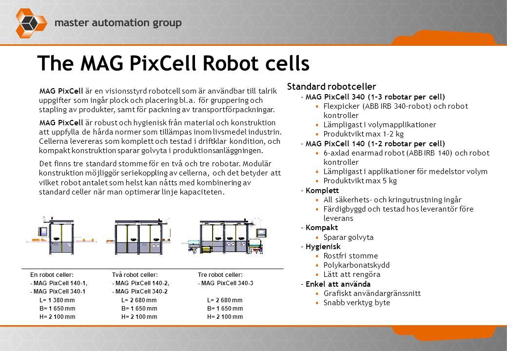 The MAG PixCell Robot cells MAG PixCell är en visionsstyrd robotcell som är användbar till talrik uppgifter som ingår plock och placering bl.a. för gr