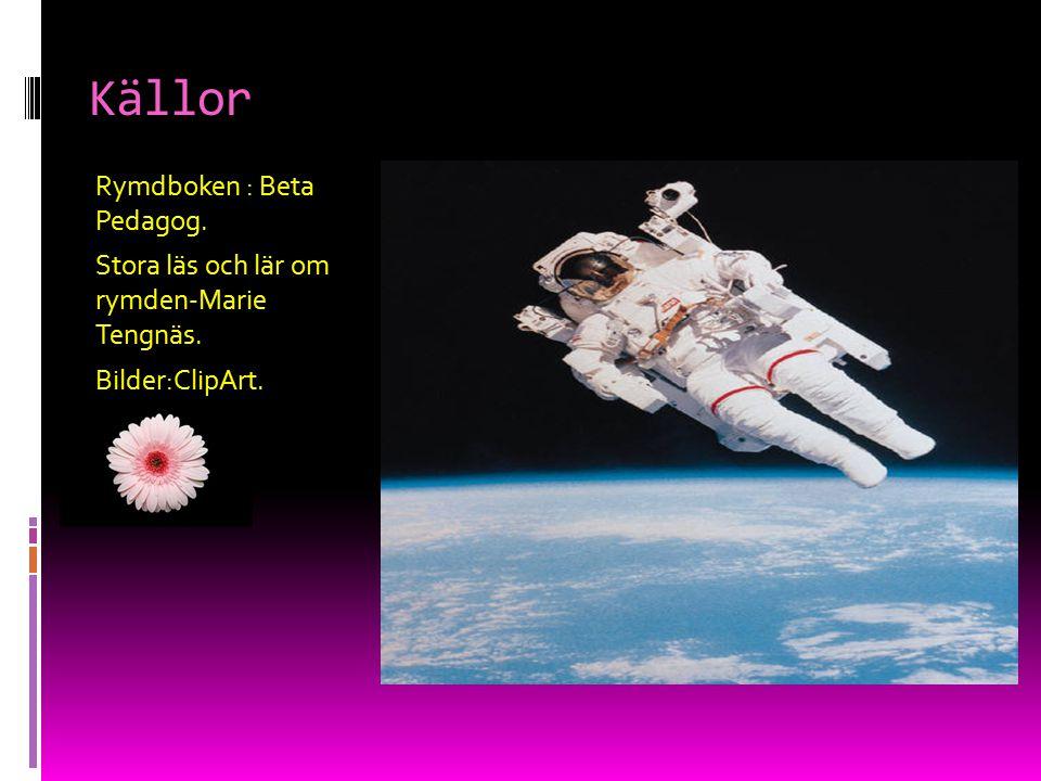 Källor Rymdboken : Beta Pedagog. Stora läs och lär om rymden-Marie Tengnäs. Bilder:ClipArt.