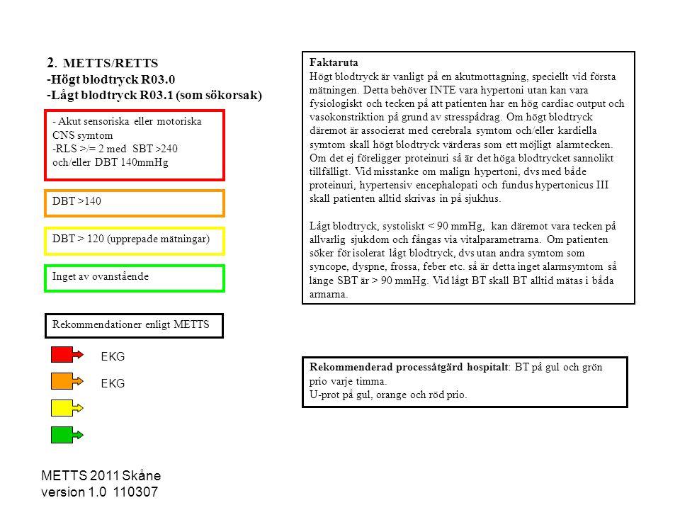 METTS 2011 Skåne version 1.0 110307 - Akut sensoriska eller motoriska CNS symtom -RLS >/= 2 med SBT > 240 och/eller DBT 140mmHg DBT >140 DBT > 120 (up