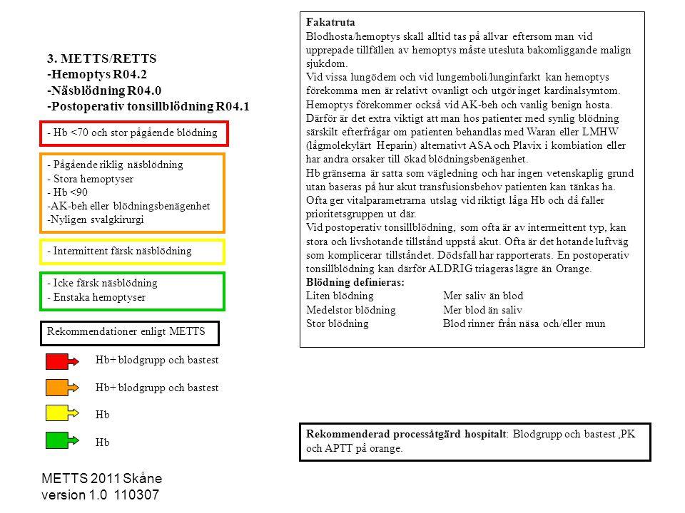 METTS 2011 Skåne version 1.0 110307 3. METTS/RETTS -Hemoptys R04.2 -Näsblödning R04.0 -Postoperativ tonsillblödning R04.1 Fakatruta Blodhosta/hemoptys