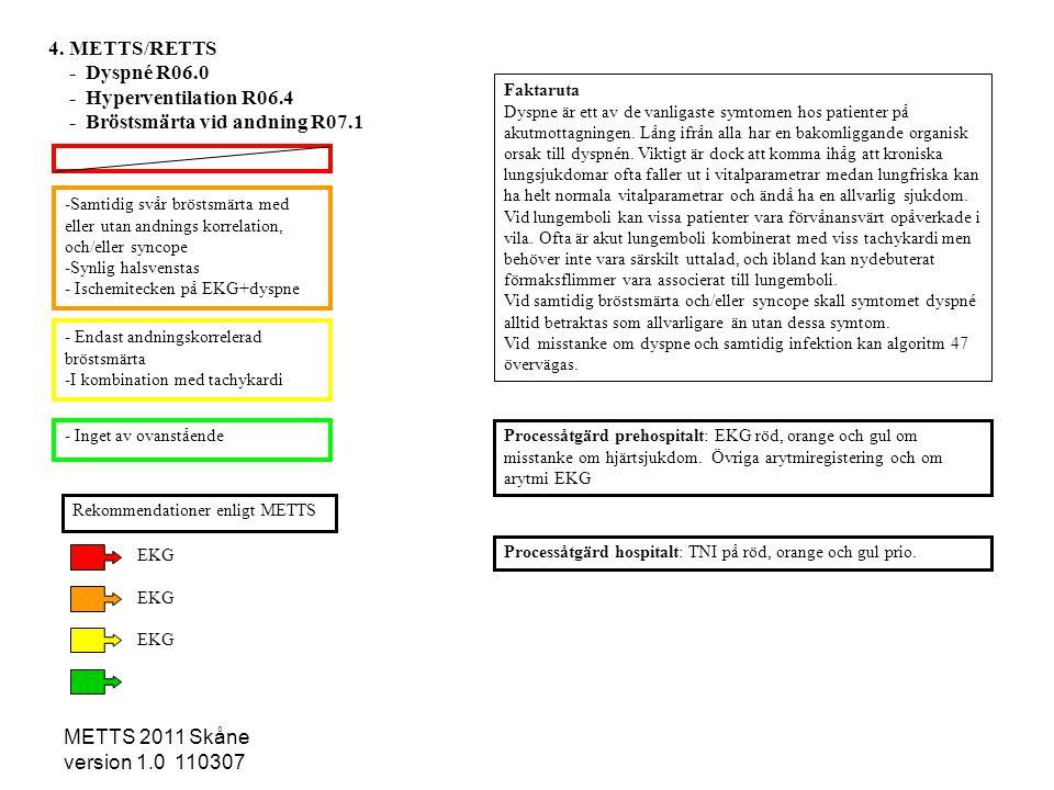 METTS 2011 Skåne version 1.0 110307 -Samtidig svår bröstsmärta med eller utan andnings korrelation, och/eller syncope -Synlig halsvenstas - Ischemitec