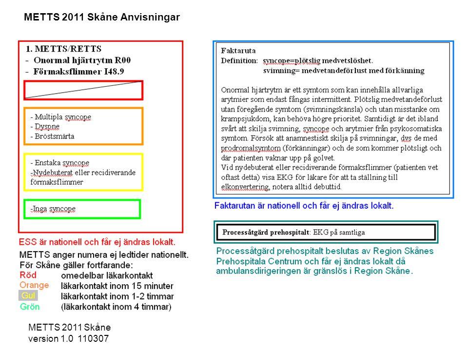METTS 2011 Skåne version 1.0 110307 -Pulserande blödning -Misstänkt penetrerande ögonskada -Misstänkt skelettskada huvud/hals -Blödning från hörselgång -Kraftig och ökande svullnad i regionen -Sväljningssvårigheter -Berusad patient/intoxikerad -Ak-behandling eller blödningsbenägenhet -Sensibilitetsnedsättning i extremitet -Djup sårskada som behöver sutureras -Medvetslöshet/amnesi i samband med skada -Misshandel kan lägst bli gul - Ytliga skador och inget av ovanstående -Hängning/strypningsförsök -Penetrerande skada huvud/hals -Brännskada/kemskada inhalationsskada Processåtgärd hospitalt: Komplettera på orange prio med intox- prover, PK-INR, APTT enligt rutin.