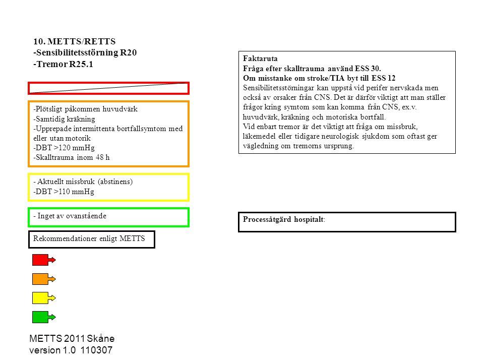 METTS 2011 Skåne version 1.0 110307 -Plötsligt påkommen huvudvärk -Samtidig kräkning -Upprepade intermittenta bortfallsymtom med eller utan motorik -D