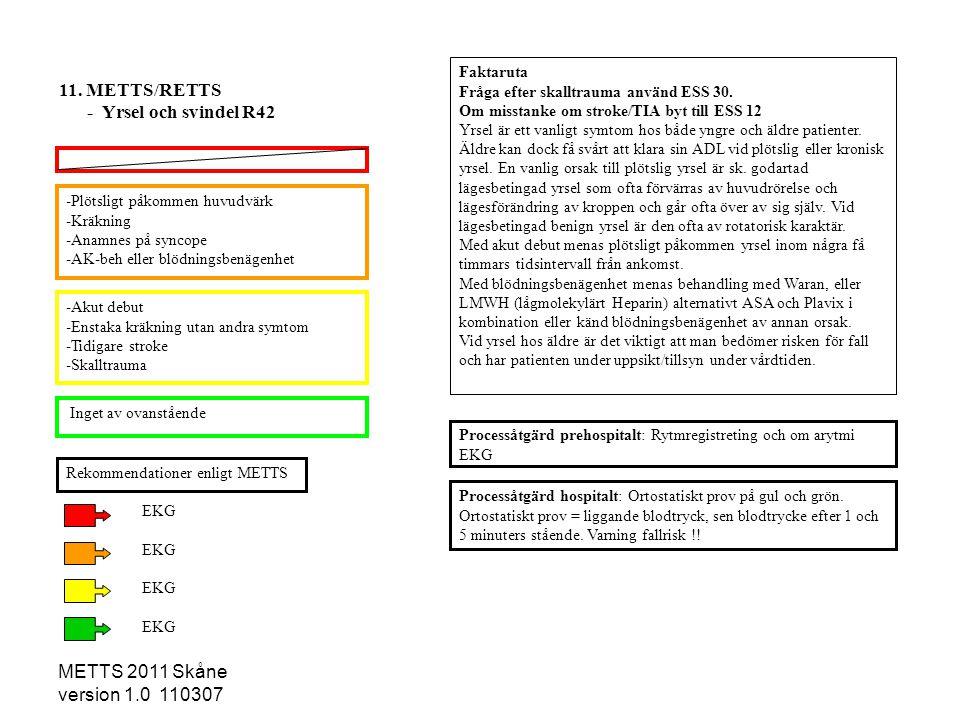 METTS 2011 Skåne version 1.0 110307 -Plötsligt påkommen huvudvärk -Kräkning -Anamnes på syncope -AK-beh eller blödningsbenägenhet -Akut debut -Enstaka