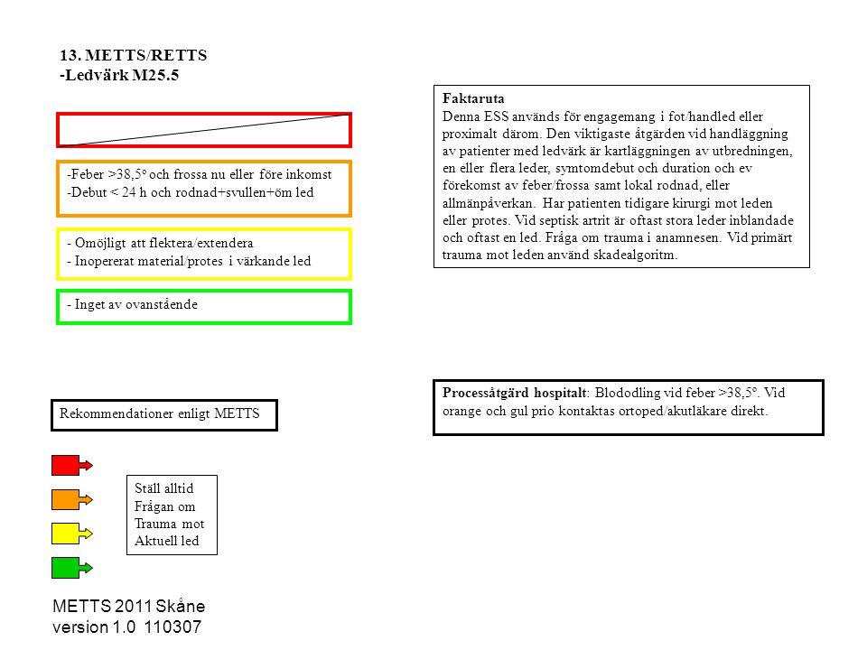 METTS 2011 Skåne version 1.0 110307 -Feber >38,5 o och frossa nu eller före inkomst -Debut < 24 h och rodnad+svullen+öm led - Omöjligt att flektera/ex