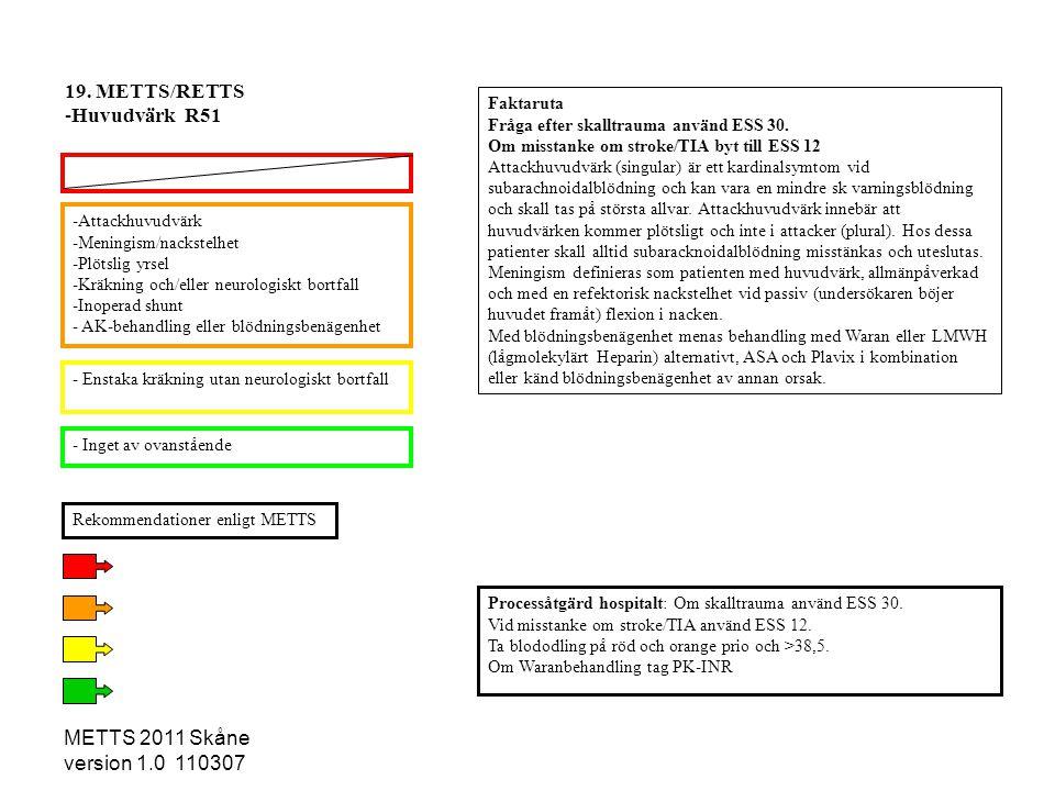 METTS 2011 Skåne version 1.0 110307 -Attackhuvudvärk -Meningism/nackstelhet -Plötslig yrsel -Kräkning och/eller neurologiskt bortfall -Inoperad shunt