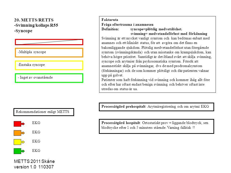 METTS 2011 Skåne version 1.0 110307 -Multipla syncope -Enstaka syncope - Inget av ovanstående Processåtgärd hospitalt: Ortostatiskt prov = liggande bl