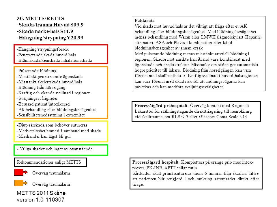 METTS 2011 Skåne version 1.0 110307 -Pulserande blödning -Misstänkt penetrerande ögonskada -Misstänkt skelettskada huvud/hals -Blödning från hörselgån