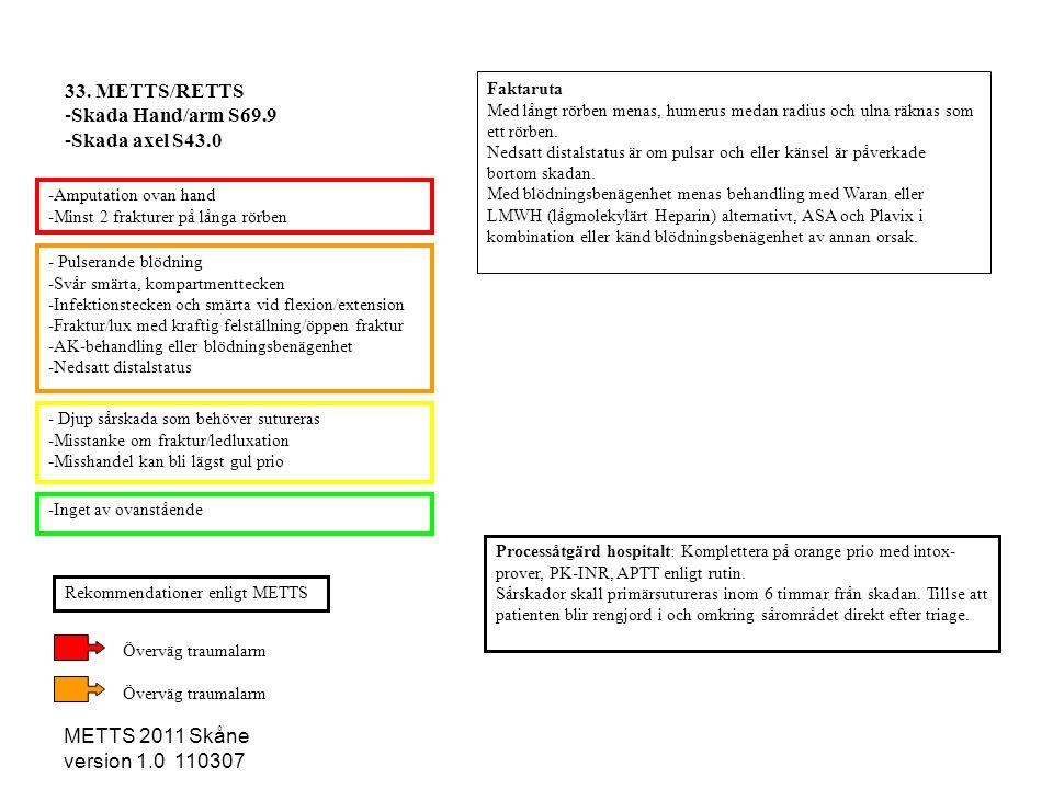METTS 2011 Skåne version 1.0 110307 - Pulserande blödning -Svår smärta, kompartmenttecken -Infektionstecken och smärta vid flexion/extension -Fraktur/
