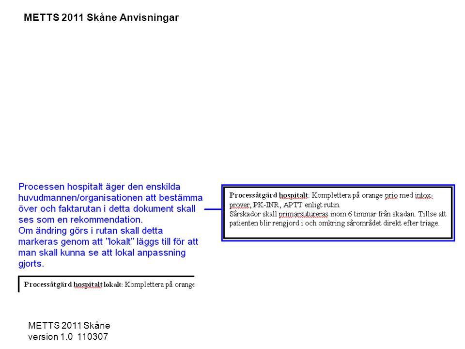 METTS 2011 Skåne version 1.0 110307 - Pulserande blödning -Svår smärta, kompartmenttecken -Infektionstecken och smärta vid flexion/extension -Fraktur/lux med kraftig felställning/öppen fraktur -AK-behandling eller blödningsbenägenhet -Nedsatt distalstatus - Djup sårskada som behöver sutureras -Misstanke om fraktur/ledluxation -Misshandel kan bli lägst gul prio -Amputation ovan hand -Minst 2 frakturer på långa rörben -Inget av ovanstående Processåtgärd hospitalt: Komplettera på orange prio med intox- prover, PK-INR, APTT enligt rutin.