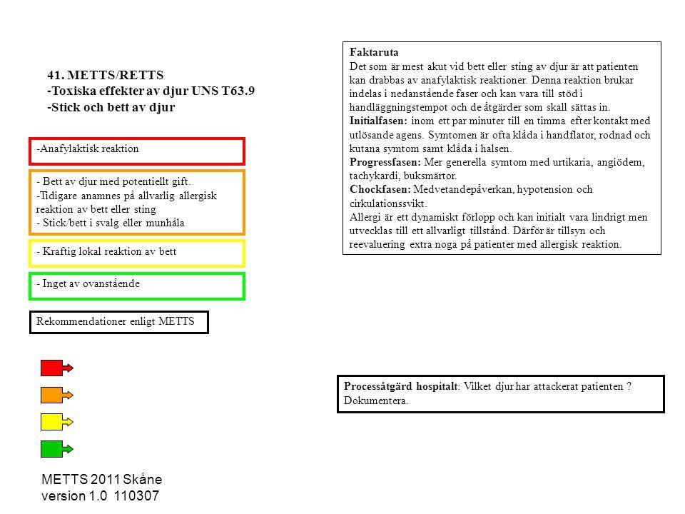 METTS 2011 Skåne version 1.0 110307 - Bett av djur med potentiellt gift. -Tidigare anamnes på allvarlig allergisk reaktion av bett eller sting - Stick