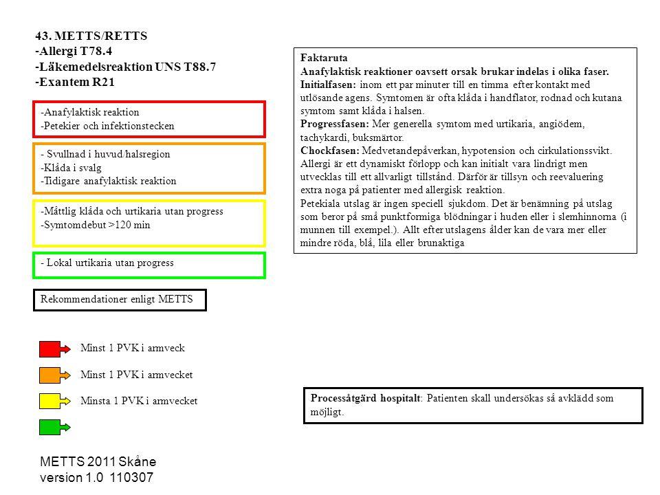 METTS 2011 Skåne version 1.0 110307 - Svullnad i huvud/halsregion -Klåda i svalg -Tidigare anafylaktisk reaktion -Måttlig klåda och urtikaria utan pro