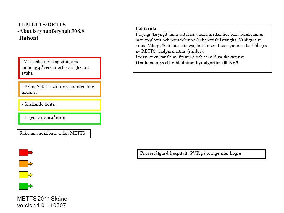 METTS 2011 Skåne version 1.0 110307 - Skällande hosta - Feber >38.5 o och frossa nu eller före inkomst -Misstanke om epiglottit, dvs andningspåverkan