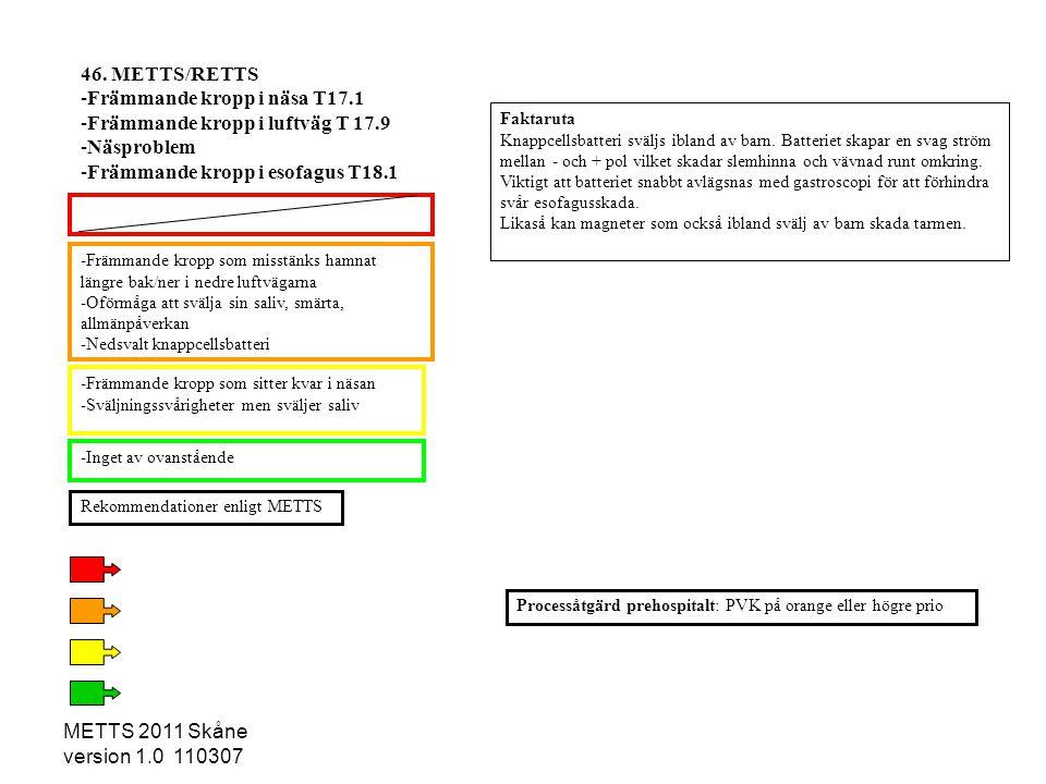 METTS 2011 Skåne version 1.0 110307 -Främmande kropp som misstänks hamnat längre bak/ner i nedre luftvägarna -Oförmåga att svälja sin saliv, smärta, a
