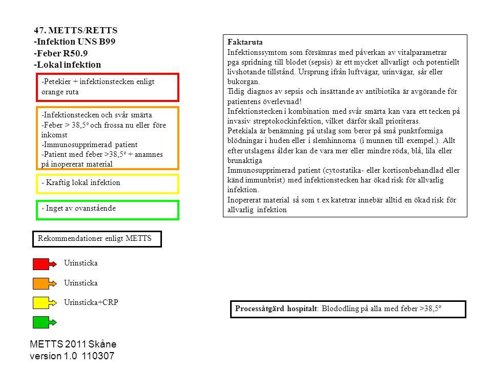 METTS 2011 Skåne version 1.0 110307 -Infektionstecken och svår smärta -Feber > 38,5 o och frossa nu eller före inkomst -Immunosupprimerad patient -Pat