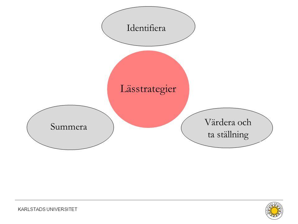KARLSTADS UNIVERSITET Lässtrategier Värdera och ta ställning Summera Identifiera