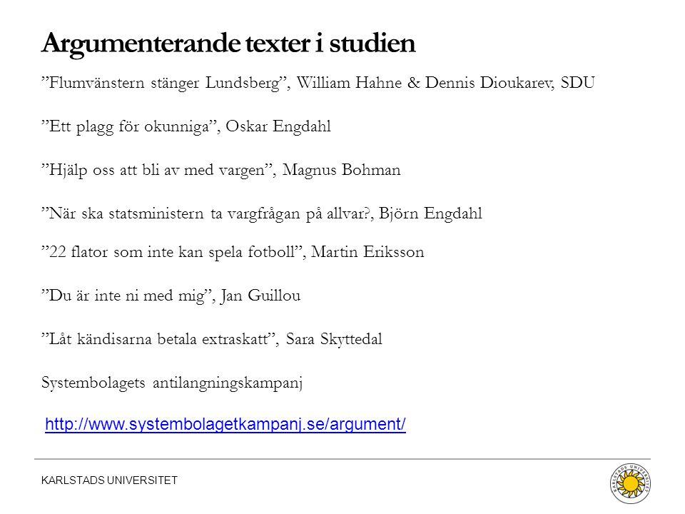 """KARLSTADS UNIVERSITET Argumenterande texter i studien """"Flumvänstern stänger Lundsberg"""", William Hahne & Dennis Dioukarev, SDU """"Ett plagg för okunniga"""""""