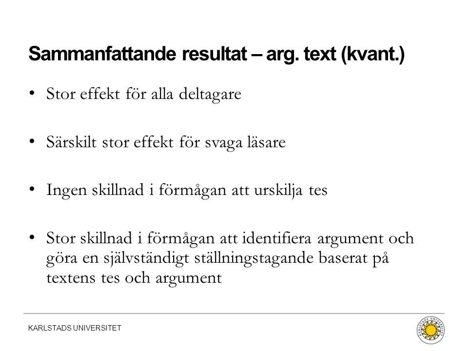 KARLSTADS UNIVERSITET Sammanfattande resultat – arg. text (kvant.) Stor effekt för alla deltagare Särskilt stor effekt för svaga läsare Ingen skillnad