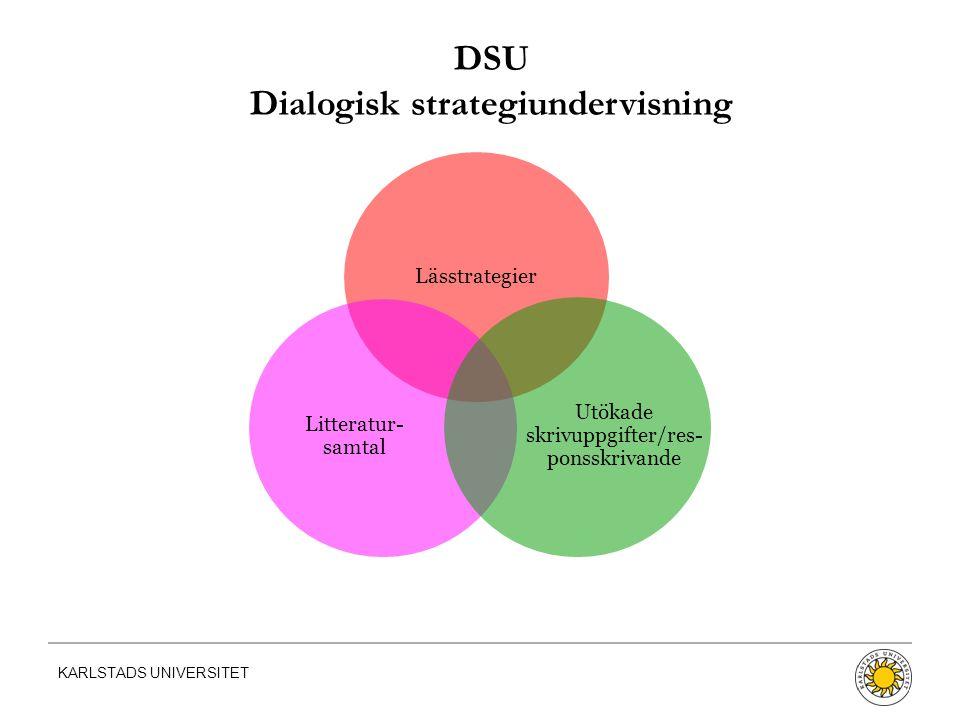 KARLSTADS UNIVERSITET Lässtrategier Litteratur- samtal Utökade skrivuppgifter/res- ponsskrivande DSU Dialogisk strategiundervisning
