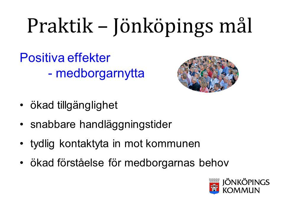 Positiva effekter - medborgarnytta ökad tillgänglighet snabbare handläggningstider tydlig kontaktyta in mot kommunen ökad förståelse för medborgarnas behov Praktik – Jönköpings mål