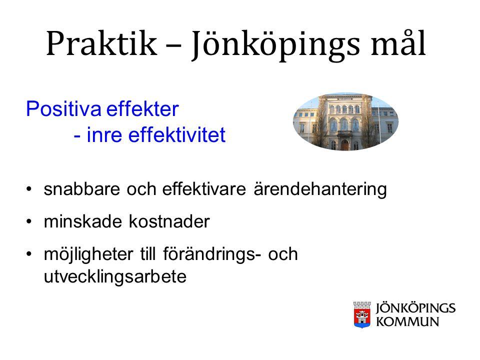 Positiva effekter - inre effektivitet snabbare och effektivare ärendehantering minskade kostnader möjligheter till förändrings- och utvecklingsarbete Praktik – Jönköpings mål