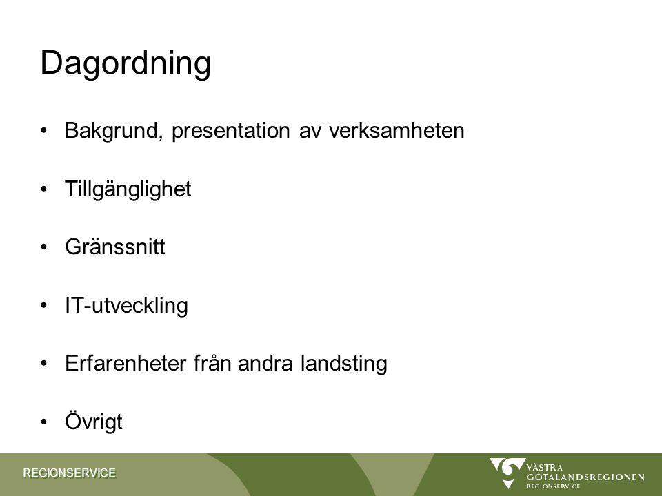 REGIONSERVICEREGIONSERVICE Dagordning Bakgrund, presentation av verksamheten Tillgänglighet Gränssnitt IT-utveckling Erfarenheter från andra landsting
