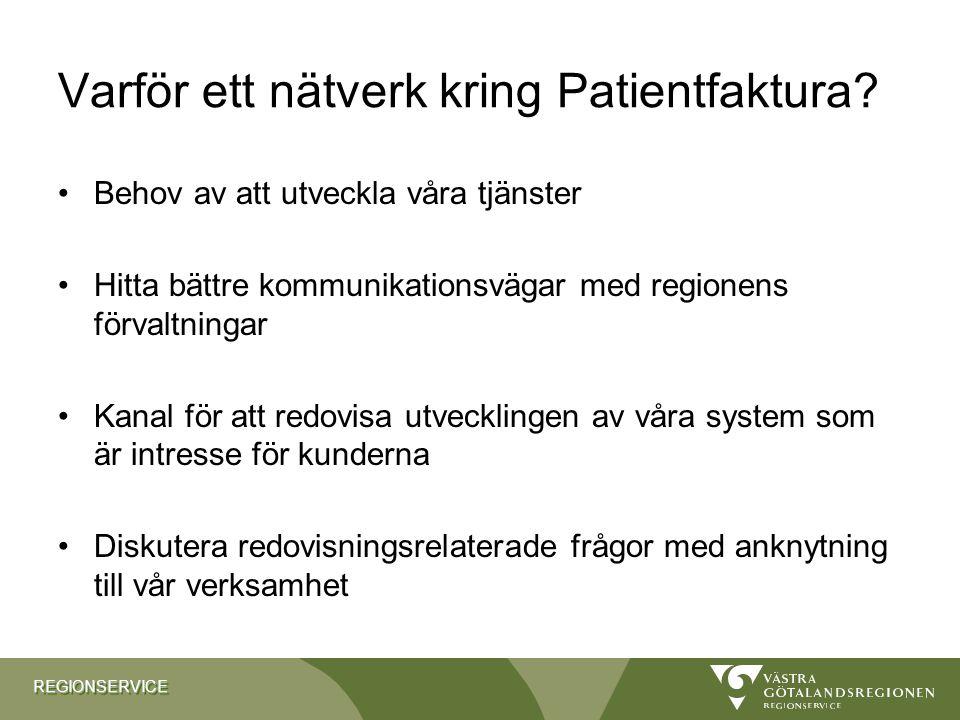 REGIONSERVICEREGIONSERVICE Varför ett nätverk kring Patientfaktura? Behov av att utveckla våra tjänster Hitta bättre kommunikationsvägar med regionens