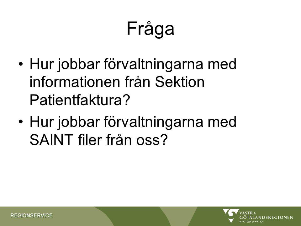 REGIONSERVICEREGIONSERVICE Fråga Hur jobbar förvaltningarna med informationen från Sektion Patientfaktura? Hur jobbar förvaltningarna med SAINT filer