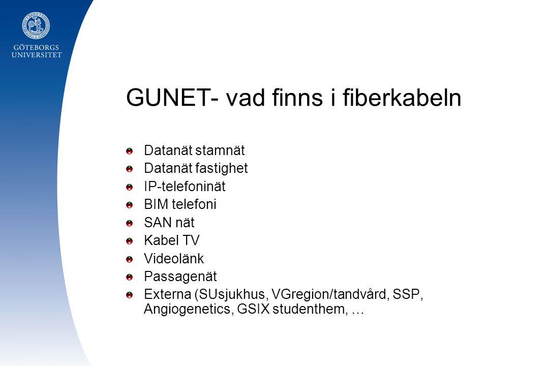 GUNET- vad finns i fiberkabeln Datanät stamnät Datanät fastighet IP-telefoninät BIM telefoni SAN nät Kabel TV Videolänk Passagenät Externa (SUsjukhus,